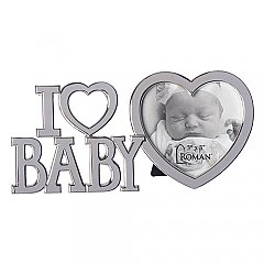 "Roman Gifts 3"" High I Heart Baby Picture Frame"