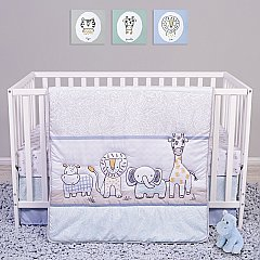 Trend Lab Sammy and Lou Safari Yearbook 4 Piece Crib Bedding Set