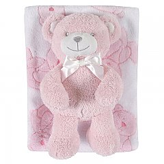 Stephan Baby Plush Blanket and Bear Gift Set in Pink