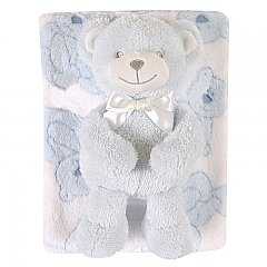 Stephan Baby Plush Blanket and Bear Gift Set in Blue