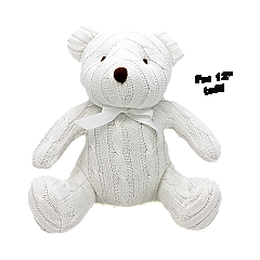 Rose Textiles 12 inch White Cable Knit Bear