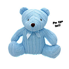 Rose Textiles 12 inch Blue cable Knit Bear