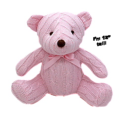 Rose Textiles 12 inch Pink Cable Knit Bear