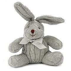 Rose Textiles 8 Inch Cable Knit Grey Bunny