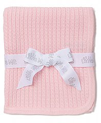 Little Me Pink Cable Knit Blanket