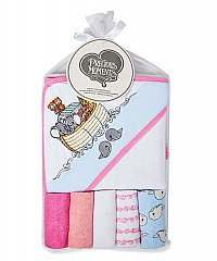 Precious Moments Pink Hooded Towel and Wash Cloth Set