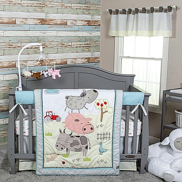 Trend Lab Farm Stack 4 Piece Crib Bedding Set