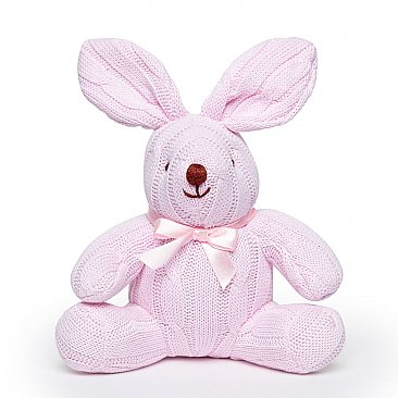 Rose Textiles 8 inch Cable Knit Pink Bunny