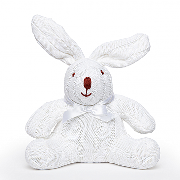 Rose Textiles 8 inch Cable Knit White Bunny